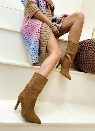 Women ankle boots ALIZA VELOUR - BROWN