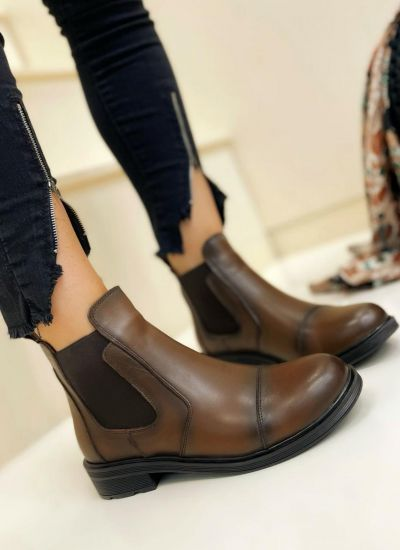 Leather ankle boots NOVARA - BROWN