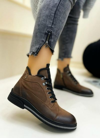 Leather ankle boots HAJRAH - BROWN