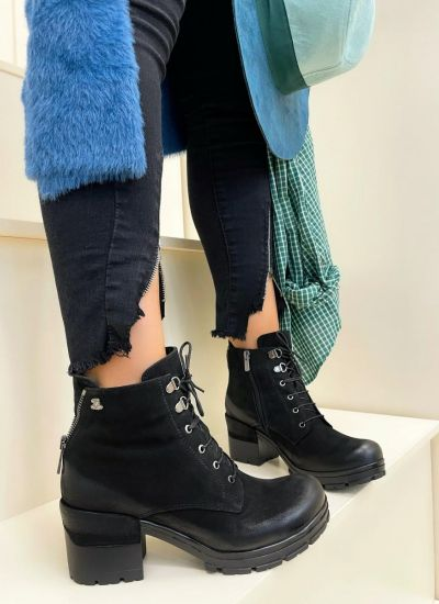 Leather ankle boots LIYLE - BLACK