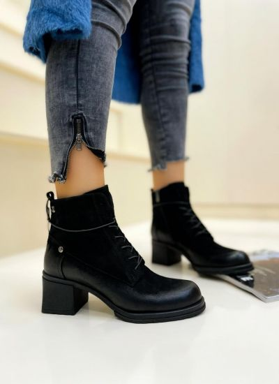 Leather ankle boots AMERA - BLACK