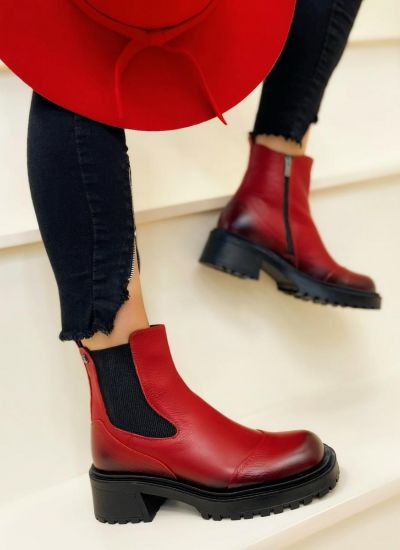 Leather ankle boots AHRYA - RED
