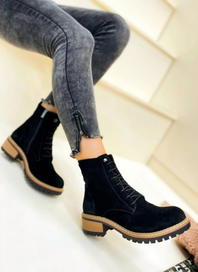 Leather ankle boots SAFAH - BLACK