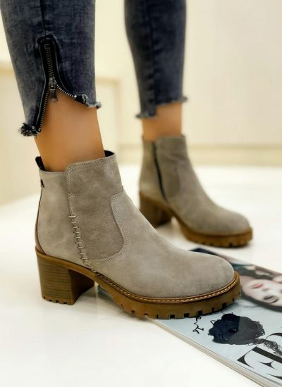 Leather ankle boots URVASI - BEIGE