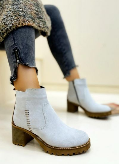 Leather ankle boots URVASI - WHITE