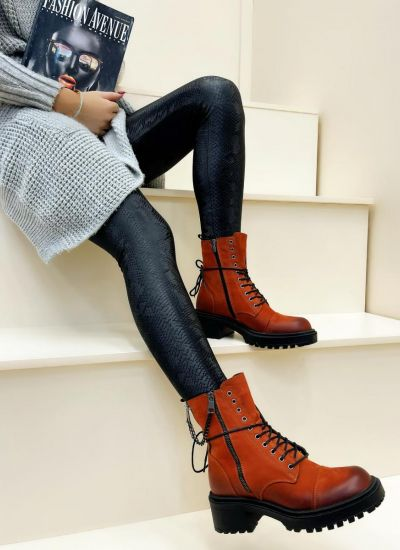 Leather ankle boots NEHAL - ORANGE