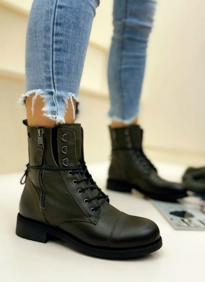 Leather ankle boots BLAINE - GREEN