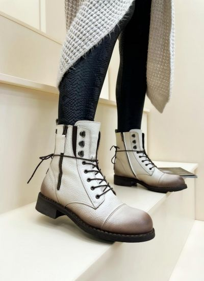 Leather ankle boots BLAINE - BEIGE