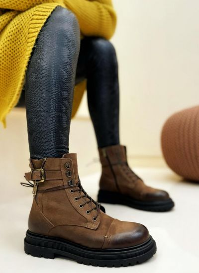 Leather ankle boots URENNA - BROWN