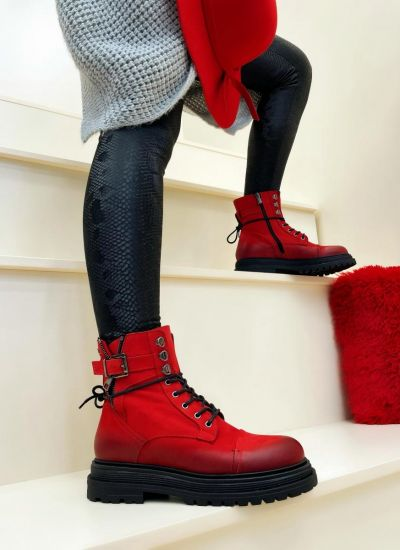 Leather ankle boots URENNA - RED