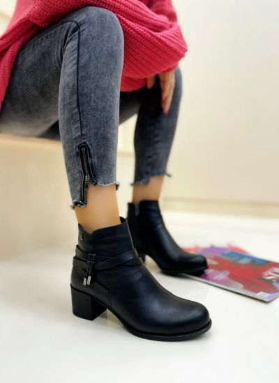 Leather ankle boots ROWAN - BLACK