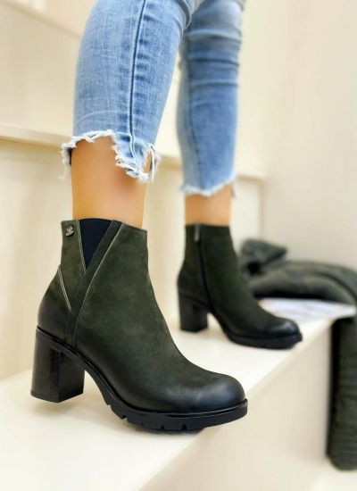 Leather ankle boots PREMA - GREEN