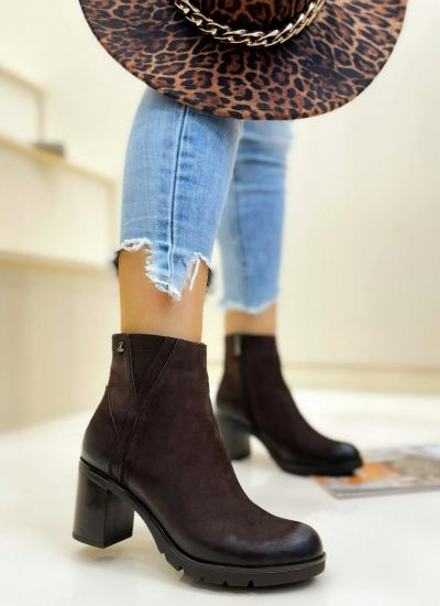 Leather ankle boots PREMA - BROWN
