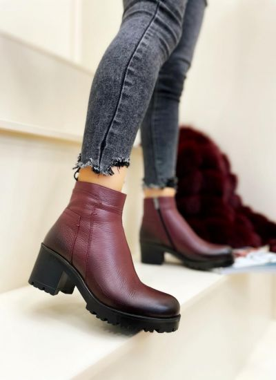 Leather ankle boots VANAJA - WINE RED