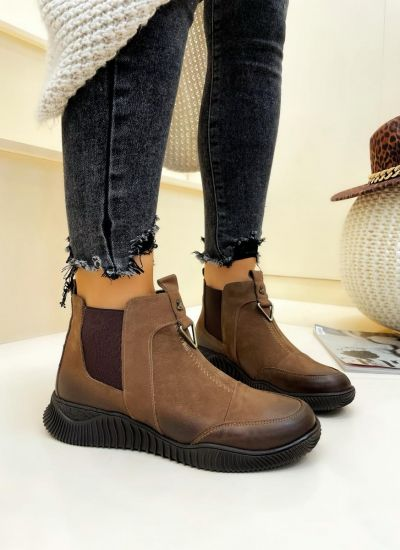 Leather ankle boots VANI - BROWN