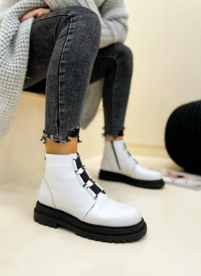 Leather ankle boots LIDIA - WHITE