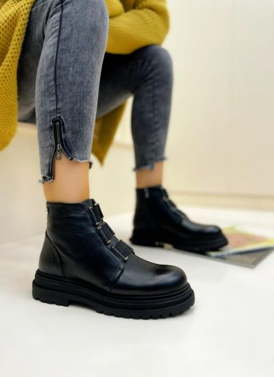 Leather ankle boots LIDIA - BLACK
