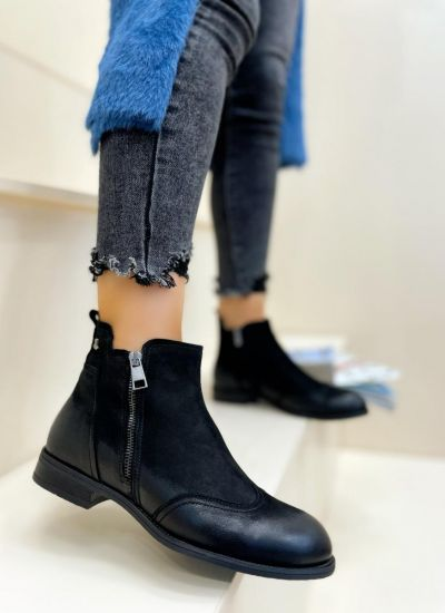 Leather ankle boots HARLOW - BLACK