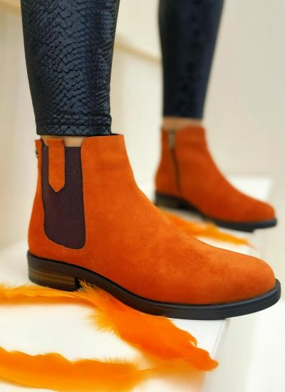 Leather ankle boots DARCIE - ORANGE