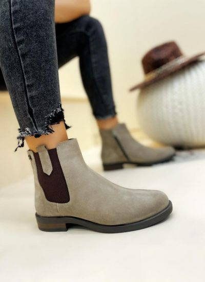 Leather ankle boots DARCIE - BEIGE