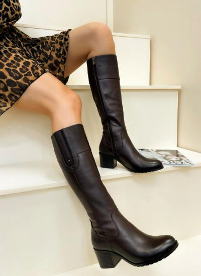 Leather boots LUCIA - BROWN
