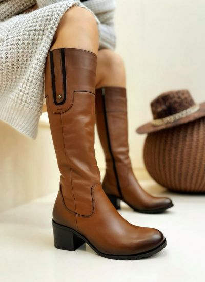 Leather boots LUCIA - CAMEL