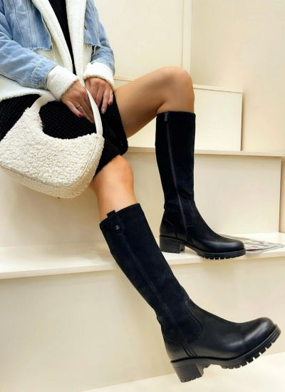 Leather boots FAYHA - BLACK