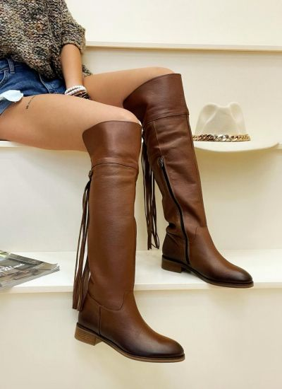 Leather boots NANCIE - CAMEL