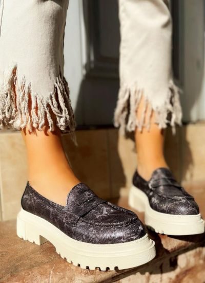 Leather shoes & flats MEENA SNAKE - GRAFIT