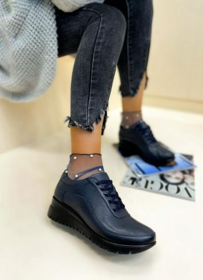 Leather shoes & flats LOUISA - NAVY