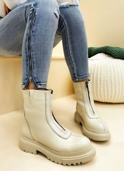 Leather ankle boots ZOEIDH - BEIGE