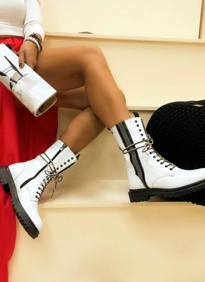 Leather ankle boots SAULE - WHITE