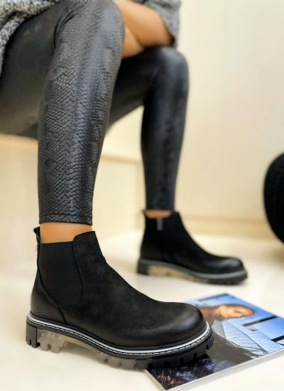 Leather ankle boots AMY - BLACK