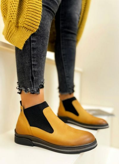 Leather ankle boots VAHINI - OCHRE