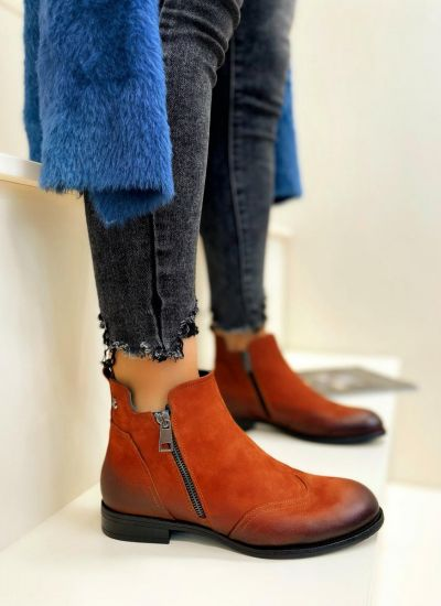Leather ankle boots HARLOW - ORANGE