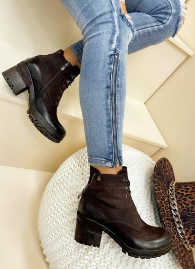 Leather ankle boots LIYLE - BROWN