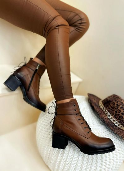 Leather ankle boots AMERA - BROWN
