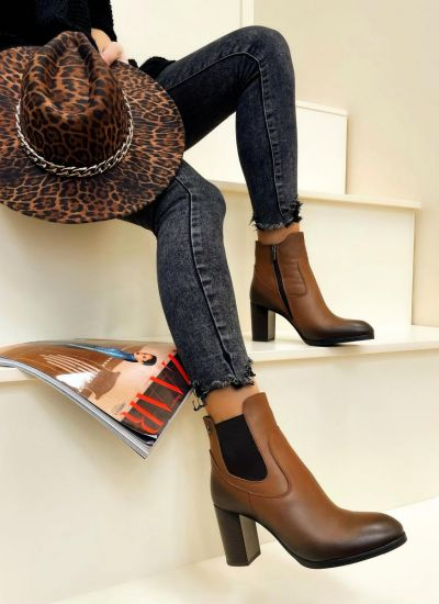 Leather ankle boots HARYS - BROWN