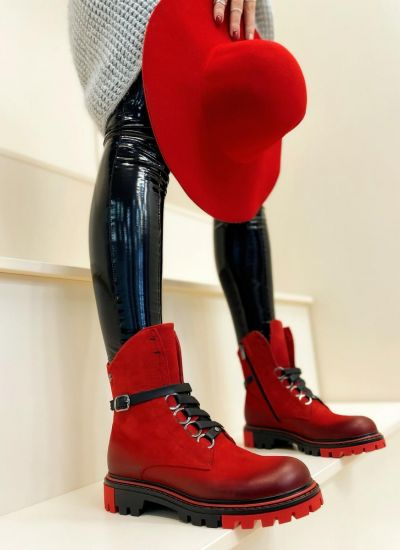 Leather ankle boots EVERLY - RED