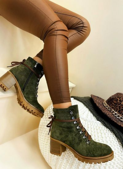 Leather ankle boots MARTHA - DARK GREEN