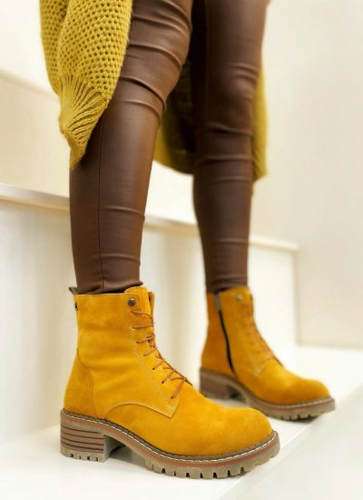 Leather ankle boots SAFAH - OCHRE