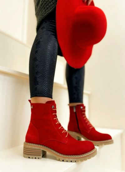 Leather ankle boots SAFAH - RED