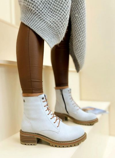 Leather ankle boots SAFAH - GREY