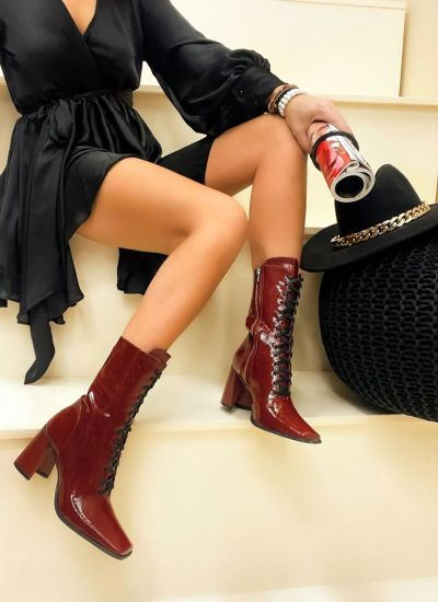 Women ankle boots ERIN - WINE RED