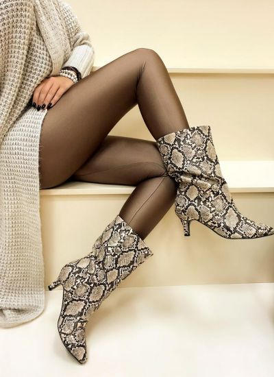 Women ankle boots ONAGH SNAKE - BEIGE