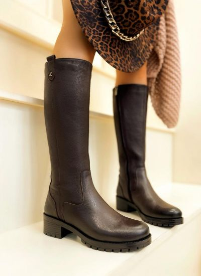 Leather boots MIRUNA - BROWN