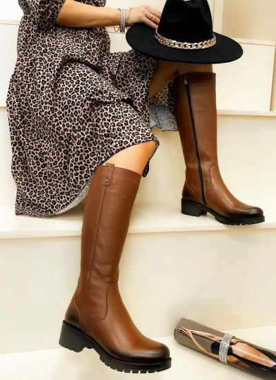 Leather boots MIRUNA - CAMEL