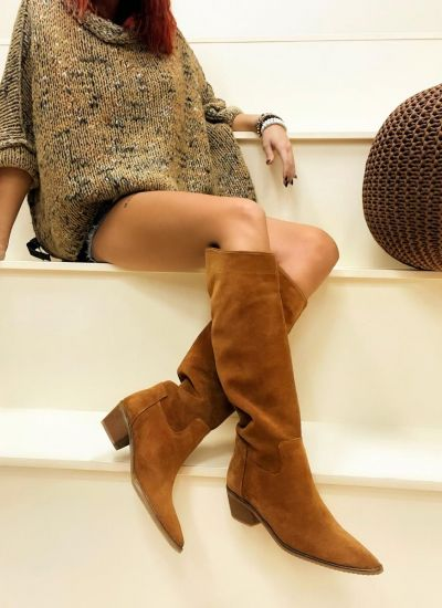 Leather boots VERA - CAMEL
