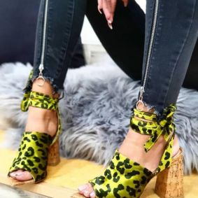 LEOPARD SPIKE SANDALS LACE UP WITH THICK HEEL - GREEN / BLACK