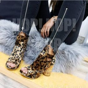 LEOPARD OPEN HIGH SHOES WITH ROUND HEEL - BROWN